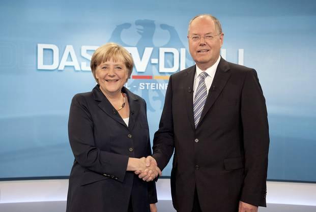 Das einzige TV-Duell zwischen Steinbrück und Merkel drei Wochen vor der Wahl endete unentschieden.