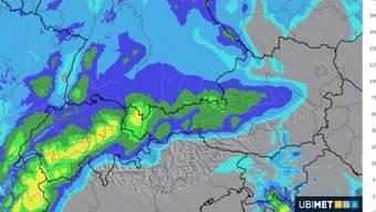 Die Neuschneemengen in Zentimetern am Dienstag – wie sie MeteoNews in ihrer Prognose für die Schweiz voraussagt.
