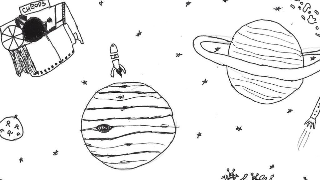 Diese Zeichnung einer 12-Jährigen aus Bern wird gemeinsam mit 2999 weiteren Beiträgen aus ganz Europa an Bord von CHEOPS die Reise ins All antreten.