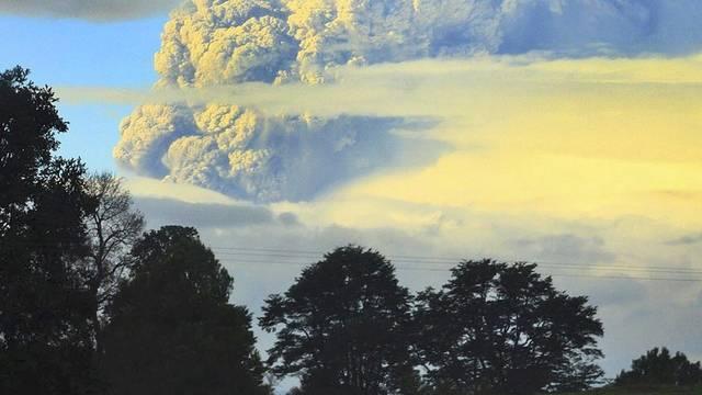 Die Aschewolke am Himmel in Chile