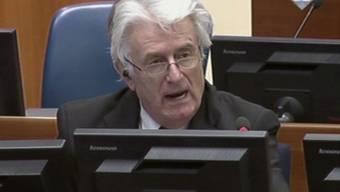 Radovan Karadzic bei seinem Schlussplädoyer