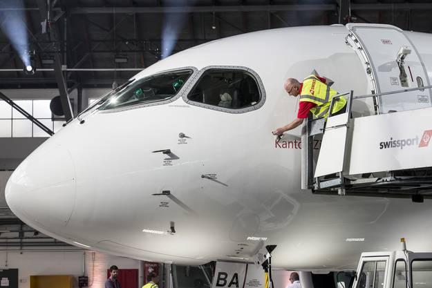Die Bombardier C Series 100 der Swiss.