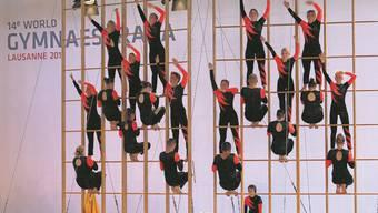 Die Aargauer der Gruppe Dance + Climb an der Schwedenleiter bei der Gymnaestrada in Lausanne