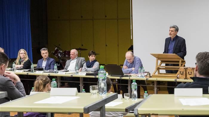 Der Gemeinderat (v.l.): Aline Schaich, Walter Vega, Linus Egger, Franziska Grab (tritt zurück), Gemeindeschreiber Anton Meier (hat gekündigt), Dieter Martin.Severin Bigler