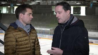 Die OT-Eishockey-Reporter Silvan Hartmann (links) und Marcel Kuchta ziehen Bilanz.