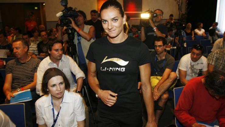 Bei der Stabhochspringerin Jelena Isinbajewa war der Pressesaal immer voll.