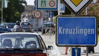 Ortsschild von Kreuzlingen an der schweizerisch-deutschen Grenze