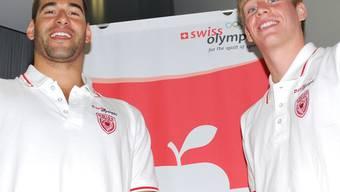 David Karasek (l.) und Yannick Käser (r.) halten sich mit Zielsetzungen für Olympia vornehm zurück.