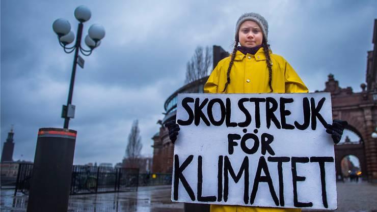 Gegen den Klimawandel: Greta Thunberg vor dem schwedischen Parlament in Stockholm am 30. November.Hanna Franzen/TT via REUTERS