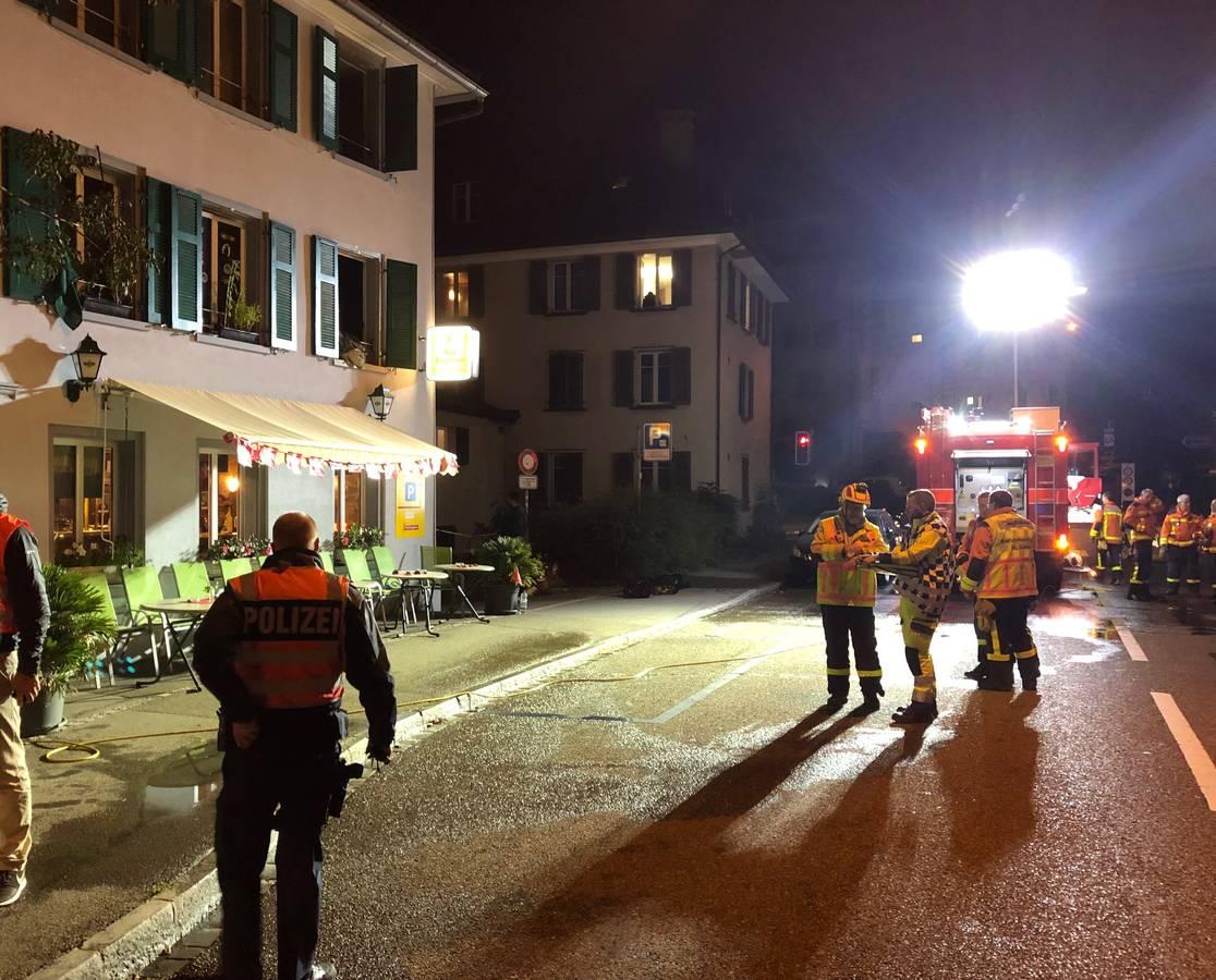 Feuerwehreinsatz am Donnerstagabend beim Restaurant Papillon in St.Gallen. (© Kapo SG)