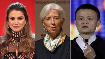 Die Königin von Jordanien Rania Al Abdullah, die Präsidentin der Europäischen Zentralbank Christine Lagarde und der Gründer von Alibaba Jack Ma.