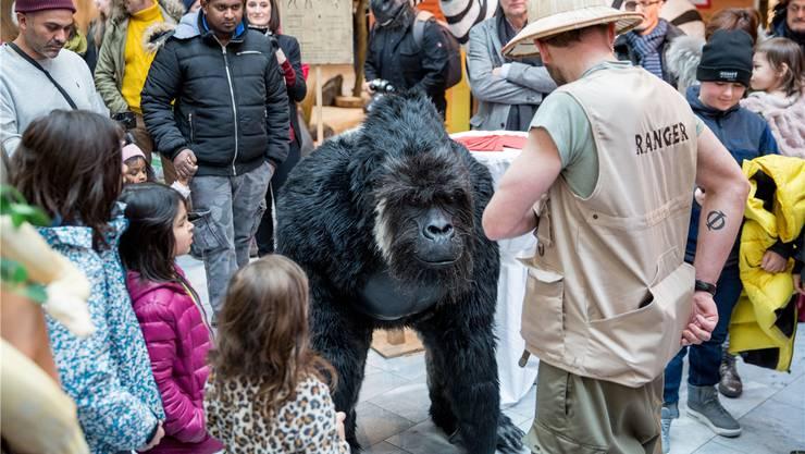 Täuschend echt: Gorilla Amari bringt die Kinder im Aarepark zum Staunen. zvg