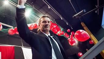 Der Hoffnungsträger für die SVP Unterwallis: Oskar Freysinger nach der Wahl zum offiziellen Regierungsratskandidaten