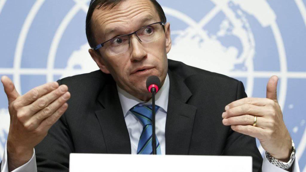 Der UNO-Sondergesandte für die Zypernfrage, Espen Barth Eide, am Montag vor den Medien in Genf.