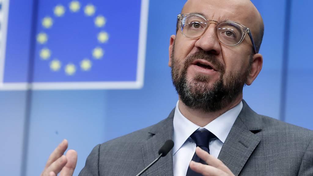 Charles Michel, Präsident des Europäischen Rates, spricht auf einer Pressekonferenz am Ende eines EU-Videogipfeles. Foto: Olivier Hoslet/Pool EPA/AP/dpa