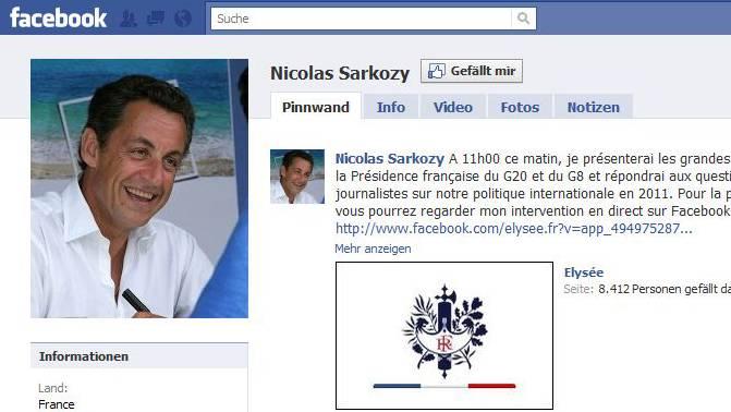 Die Fan-Page von Nicolas Sarkozy auf Facebook