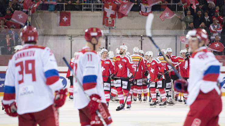 Die Schweizer Eishockey-Nationalmannschaft spielte am 22. April gegen Russland.