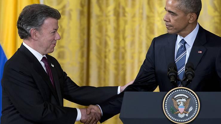 US-Präsident Obama und sein kolumbianischer Amtskollege Santos sprechen nach ihrem Treffen zu den Medien.