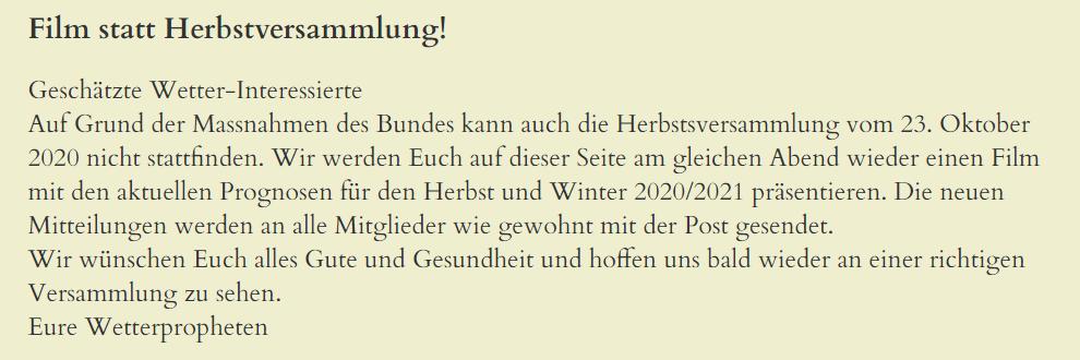 Mitteilung der Wetterschmöcker bezüglich der Herbstversammlung.