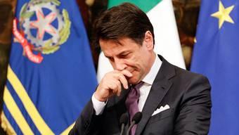 Italians Premierminister Giuseppe während der Medienkonferenz. Bild: Andrew Medichini/AP (Rom, 3. Juni 2019)