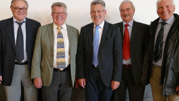 Aktuar Roman Abt, Kassier Erwin Berger, Präsident Othmar Huber, Erwin Notter, Karl Strebel (von links)