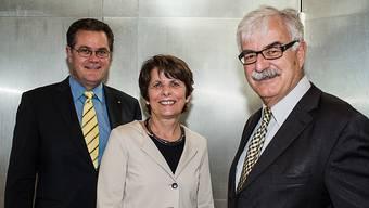 Hans-Kaspar Scherrer, Vorsitzender der IBA-Geschäftsleitung (links), bekommt mit Stadtpräsidentin Jolanda Urech eine neue Chefin. Sie löst Marcel Guignard ab.