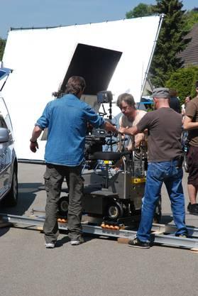 Hier bauen die Filmemacher das Filmset für die Tatortfolge auf.
