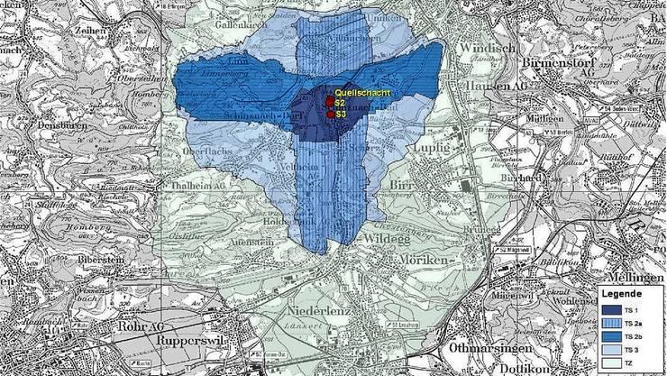 Der Plan zeigt die unterschiedlichen Thermalschutzbereiche (blau). zvg