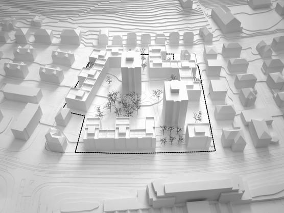 Mit drei Blockrand-Wohnbauten und einem Gewerbebau soll das Gebiet verdichtet werden