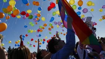 Gemäss der Webseite der Helpline wurden in den vergangenen fünf Jahren schätzungsweise 30 Prozent aller LGBT zu Hause oder in der Öffentlichkeit angegriffen oder mit Gewalt bedroht. Bild: Menschen demonstrieren für mehr Toleranz gegenüber LGBT. (Archivbild)