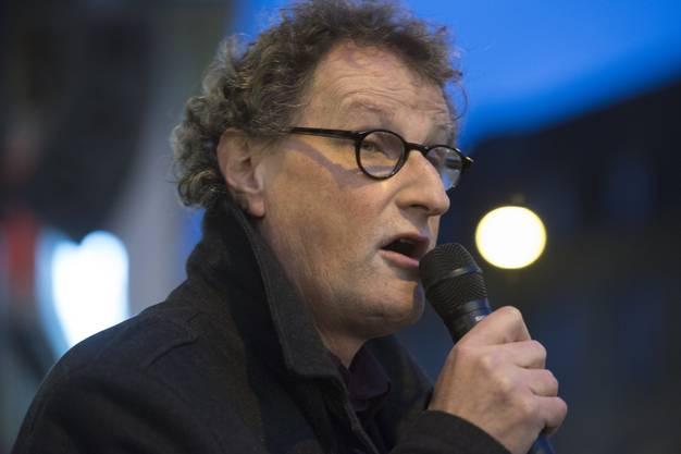 Der neue Stadtamman Badens Geri Müller verabschiedet Stephan Attiger