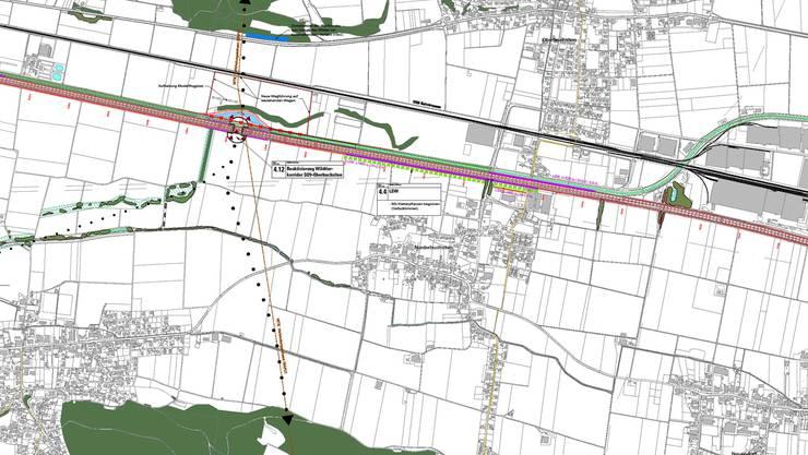 Die Grafik zeigt die vorgesehene Umlegung der Dünnern (blau) um den geplanten Wildtierkorridor über die Autobahn A1 zwischen Oensingen und Oberbuchsiten. Die schwarzen Punkte markieren die Wanderrouten des Wildes. zvg