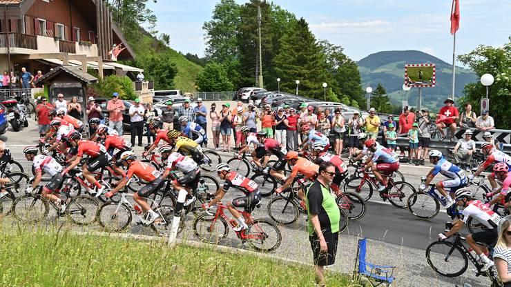 """Impressionen von der Tour de Suisse, die von Murten via Solothurn und Passwang (Fotos von der Durchfahrt beim Restaurant Alpenblick) nach Arlesheim führte. Mit kurzem Blitzbesuch von """"Bergfloh"""" Beat Breu"""