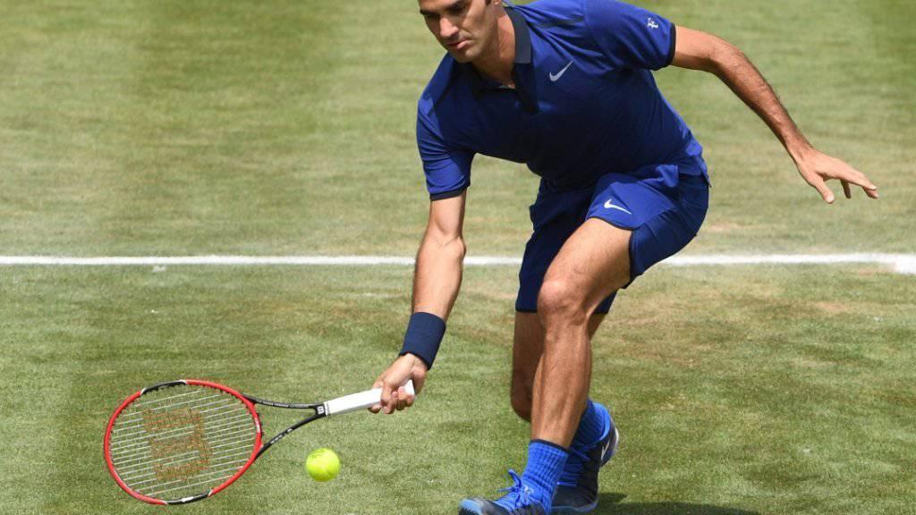 Stilsicherer Auftritt: Roger Federer steht beim Rasenturnier in Stuttgart im Halbfinal