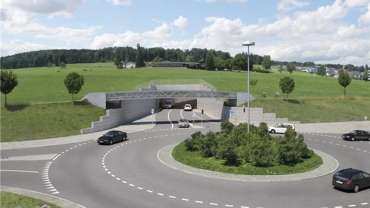 Die Umfahrung mündet im Doppelkreisel Süd, die Brücke ist Teil des Rad- und Fusswegs.