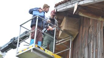Die Zivildienstleistenden Jens Widmer aus Wettingen und Jan Stadelmann aus Bern montieren in der Langenmatt einen Nistkasten.ES