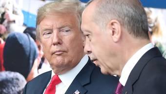 US-Präsident Donald Trump (links) sagt, der türkische Präsident Recep Tayyip Erdogan (rechts) habe sich an eine Abmachung nicht gehalten. (Archivbild)
