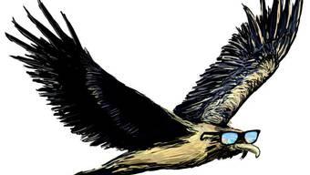 Der Bartgeier Sardona wurde von Zeichner Remo Wyss für Wartmanns Geschichten illustriert. (Bild: zvg)
