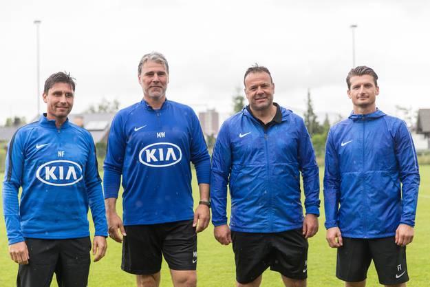 Norbert Fischer, Marco Walker, Patrick Rahmen; Flamur Flamur Tahiraj Trainingsstart des FC Aarau für die Challenge League Saison 2018/2019 im Aarauer Brügglifeld Trainingsgelände. (12. Juni 2018)