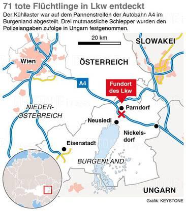 Der Fundort der Flüchtlinge, die in einem LKW im Burgenland (Österreich) erstickt sind.