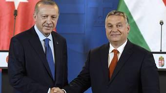 Der ungarische Regierungschef Viktor Orban (rechts) hat sich während des Besuchs des türkischen Präsidenten Recep Tayyip Erdogan in Budapest am Montag für eine enge Partnerschaft der EU mit der Türkei ausgesprochen.