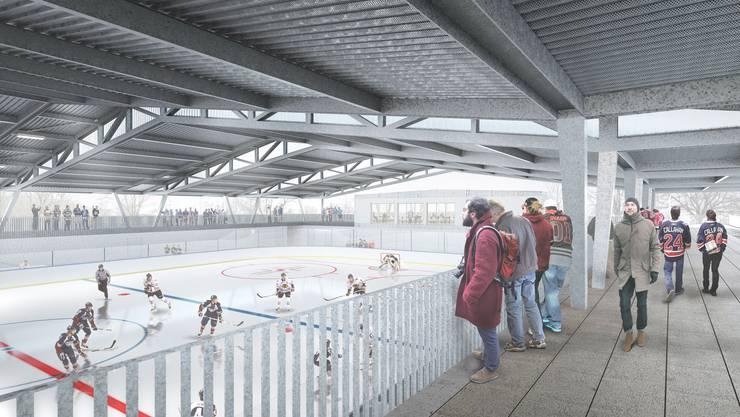 In zwei Jahren soll die neue Eisbahn in Betrieb gehen.  visualisierung archiv/az