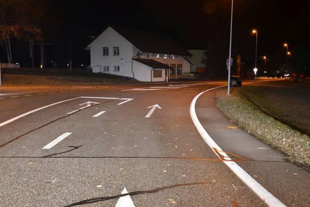 Die Unfallstelle auf der Rheintalstrasse in Felsenau