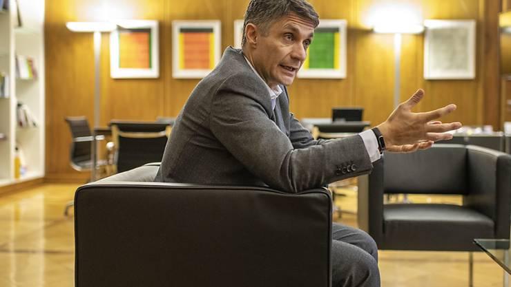 Axa-Schweiz-Chef Fabrizio Petrillo rechnet ein Jahr nach dem Ausstieg aus der Vollversicherung im Vorsorgegeschäft mit kräftigem Wachstum.