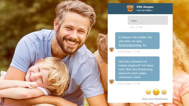 Die Nutzer können angeben, wie zufrieden sie mit dem Chat-Roboter Maxi sind.