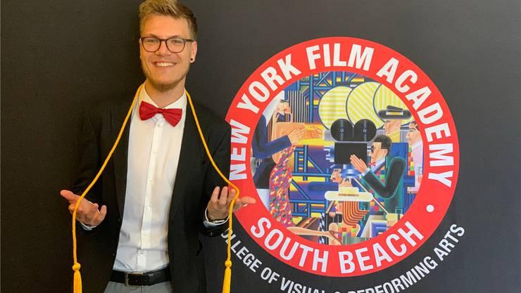 Ramón Bürki machte den besten Abschluss in seiner Klasse an der New-York-Film-Academy in Miami Beach.