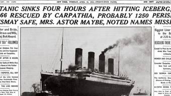 Die New York Times berichtet am 16. April 1912 über die Katastrophe (Symbolbild)