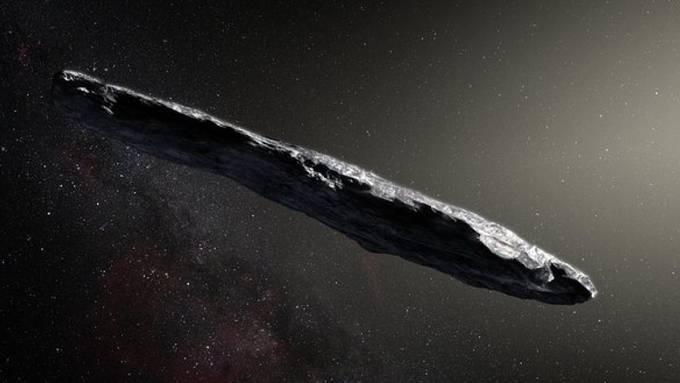 """Künstlerische Darstellung des interstellaren Asteroiden """"Oumuamua""""."""