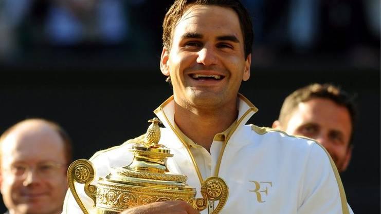 Meiste Grand-Slam-Einzeltitel Herren: Mit seinem Wimbledon-Sieg bricht Roger Federer den Rekord von Pete Sampras. Roger gewann in sechs Jahren 15 Grand-Slams.