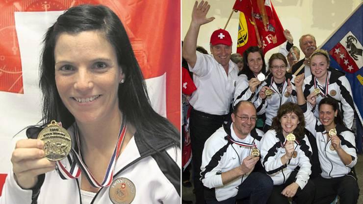 Curling-Weltmeisterin Carmen Küng mit ihrer Goldmedaille (links). Rechts posiert Küng und das gesamte Frauenteam um Captain Mirjam Ott, mit Carmen Schäfer, Janine Greiner, Ersatzspielerin Alina Paetz und Trainer Thomas Lips.